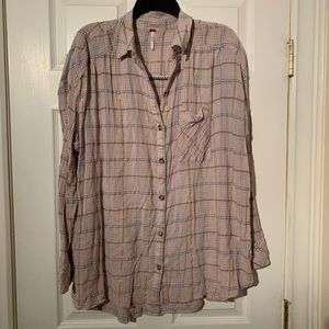 Free People Button Up Shirt Pink Plaid Gold Large